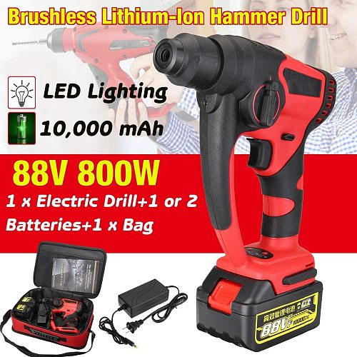 Electric Hammer Drill Brushless Cordless 88v 800w 10000mAh Lithium-Ion Hammer Drill with 1 or 2 lithium battery Power Tools