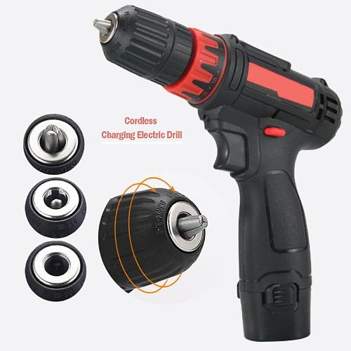 Alloet 12V Electric Cordless Drill Screwdriver Lithium Battery Mini Drill Electric Screwdriver Cordless Hammer Drill Power Tool