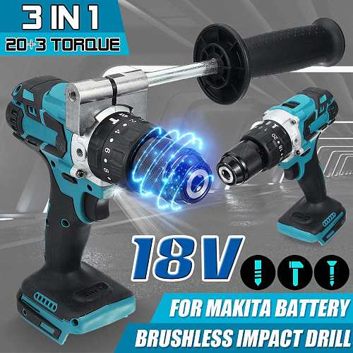 3 in 1 Brushless Cordless Electric Hammer Drill 20+3 Torque Compact Impact Drill 2020 Model with Handle For Makita 18V