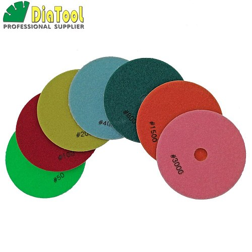 DIATOOL 7pcs/set 125MM Diamond Flexible Wet Polishing Pad, 5 inch Sanding Disc White bond Spiral Type For Stone