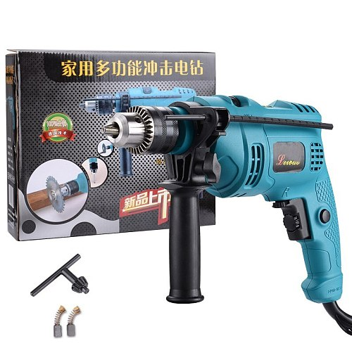 Multifunctional household percussion drill dual purpose stepless variable speed transmission reversing pistol drill small electr