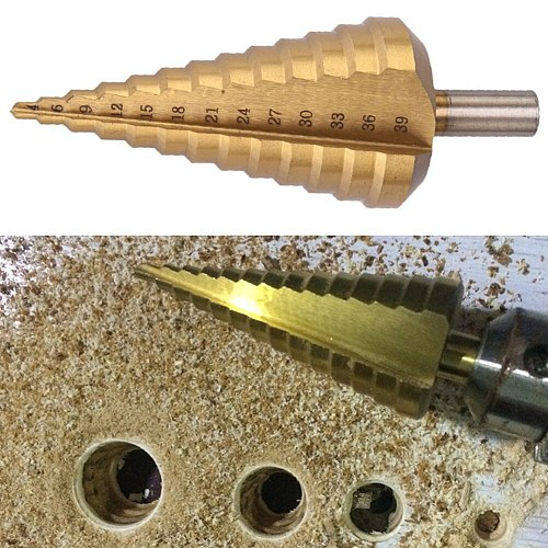 4-39mm HSS Round Handle Straight Groove Pagoda Drill Titanium Coated Step Drill Tools Accessories for M,etal Stone Hole Punching