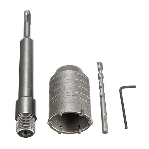 GTBL 1 Set 50mm Sds Plus Shank Concrete Cement Stone Wall Hole Saw Drill Bit with 200mm Connecting Rod Wrench