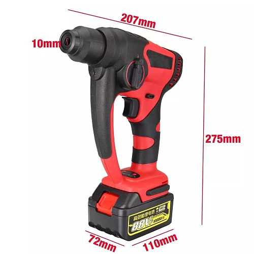 800W 88V Rotary Hammer Drill Rechargeable Electric Hammer Impact Drill Power Tools Brushless Cordless With 10000mAh Battery