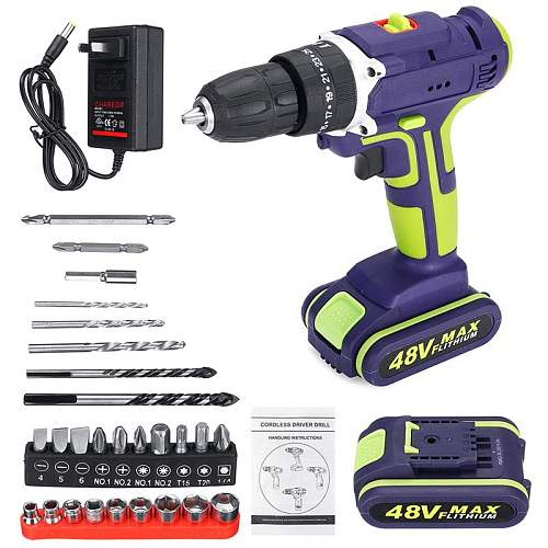 28Pcs/Set Upgrad 21V 3 In 1 Hammer Drill Cordless Double Speed Power Drills 50Nm 25+1 Torque LED Lighting Large Capacity Battery