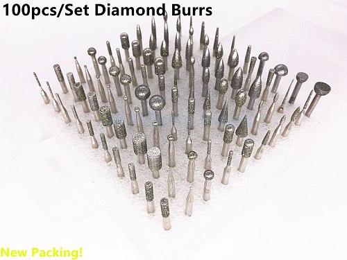 Jrealmer 100pcs/set Diamond grinding burrs mounted points Rotary Tool Engraving Etching Abrasive tool Dremel Accessories