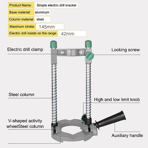 Precision Drill Guide Pipe Drill Holder Stand Drilling Guide with Adjustable Angle and Removeable Handle DIY Woodworking Tool