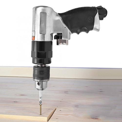 3/8in Pneumatic Drill Air Drill Pistol Type Self-Locking Three-Claw Pneumatic Hand Tool 1600rpm
