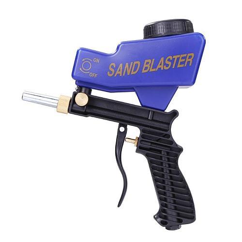 Mini Portable Gravity Sandblasting Gun Pneumatic Sandblasting Rust Blasting Tool Adjustable Flow Rate Changeable Nozzle