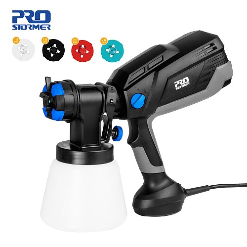 Spray Gun 600W HVLP High Power Home Electric Paint Sprayer Flow Control Airbrush 4 Nozzle Sizes Easy Spraying By PROSTORMER