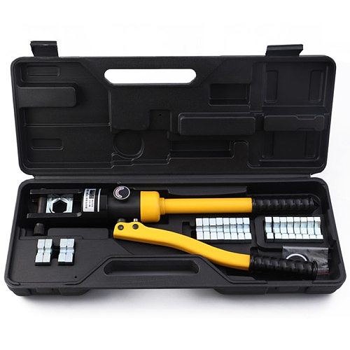 11 Dies Hydraulic Crimper 16 Ton Hydraulic Wire Crimper Battery Cable Lug Terminal Crimping Tool Rang 16-300mm