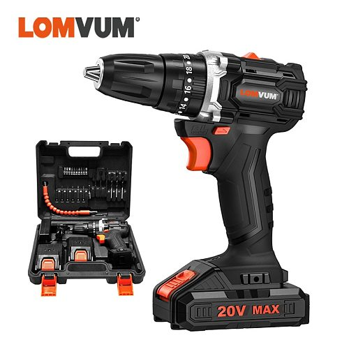 LOMVUM 20V Brushless Cordless Electric Drill LED Light Screwdriver Power Tools Lithium-Ion Battery Electric Impact Drill Bits