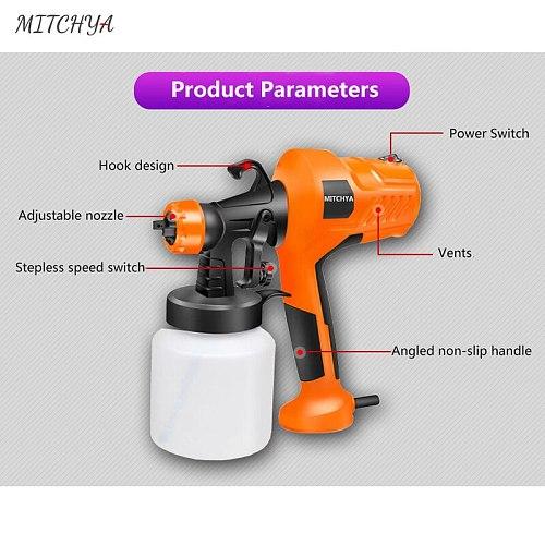MITCHYA Professional Paint Gun Mini Spray Gun High Power 400W 800ML Flow Control Cars Electric Spray Gun For Painting