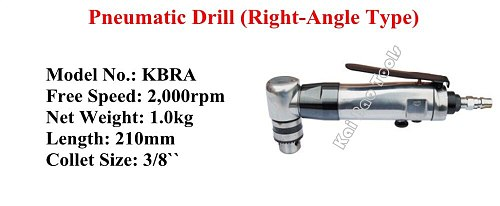Pneumatic Powered Drill Air Drilling Machines 90Degree Right Angle Type Vertical Pneumatic Driller High Quality (KBRA)