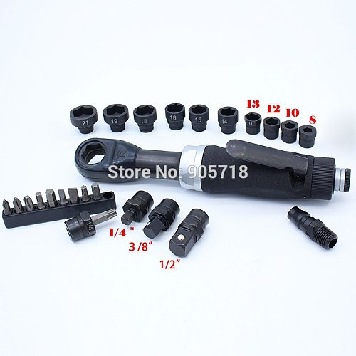 Top Quality Professional Multi-function 1/4  3/8  1/2  Perforation Pneumatic / Air Ratchet Wrench Tool with Sockets M8-M21