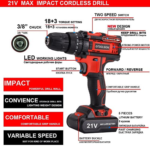 New 21V Impact Power Tool 45N.m 1.5Ah Cordless Drill Impact Drill Hammer Drill Impact Screwdriver Cordless Tool Set For DIY Home