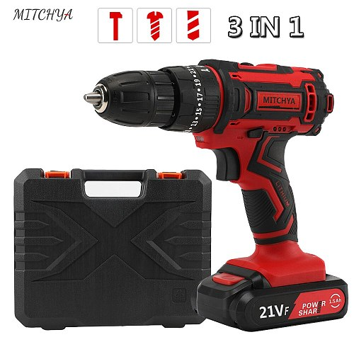 Cordless Drill Mini 21V Power Tools 3/8-Inch 2-Speed Power Display Electric Cordless Screwdriver 3in1 Rotary Tool