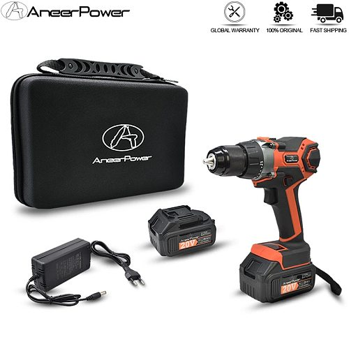 3Modes Impact Hand Drill Brushless 20V Power Tools Rechargeable Electric Drill Screwdriver 3.0Ah Battery Capacity Cordless Drill