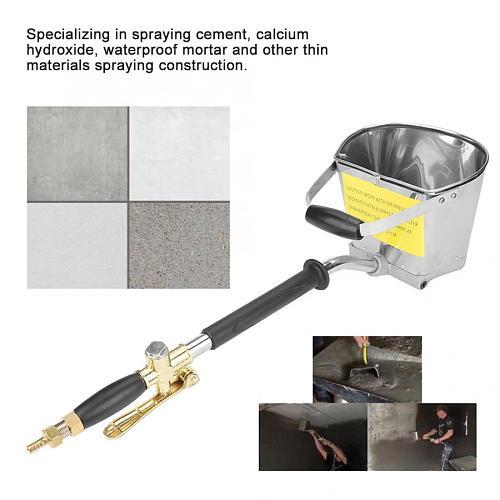 1Pcs Pneumatic Cement Mortar Spray Gun for Wall Painting Stucco Shovel Hopper Ladle Cement Air Stucco Sprayer Plaster Hopper Gun