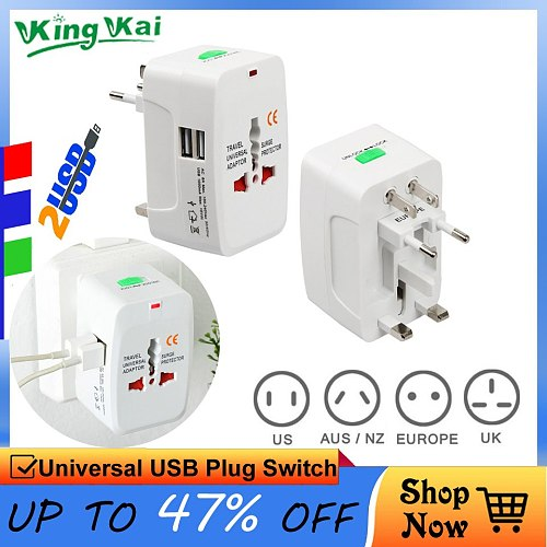 2 USB Jacks Universal Electric Plug Power Socket Travel  Adapter All In One AC Power Converter Adaptor