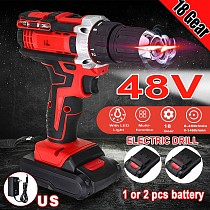 48V Electric Drill Wireless Drill Mini Cordless Screwdriver 18 Speed Power Tools With 2pcs Rechargeable Battery