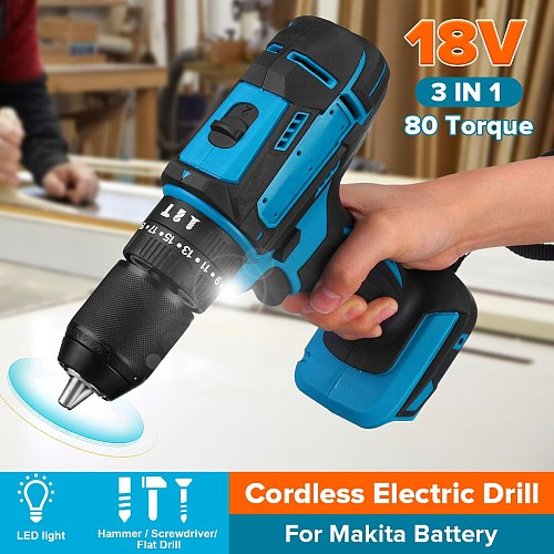 3 in 1 Electric Drill Hammer Screwdriver 18V 21V 95Nm with LED Light 10mm Cordless Impact Drill for Makita Battery