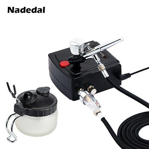 Nasedal 0.3mm 7cc Dual-Action Airbrush Compressor Spray Gun for Makeup Nail Tattoo Model/Cake/Car Paint Mini Filter