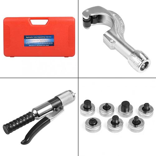 CT-300A Hydraulic Tube Expander Kit Set Tubing Expanding Tool With 7 Expander Heads For Soft Copper Aluminum Titanium Steel Hose