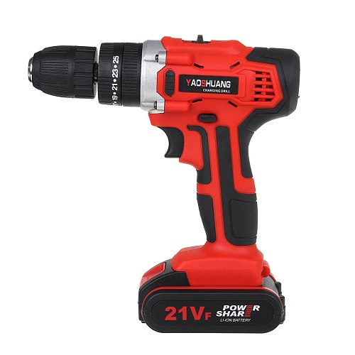 21V Cordless Drill Impact Electrical Screwdriver LED Rechargeable Electric Hand Power Tools with 2x2000mah Battery Drill Bits