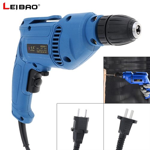 220V 600W Multifunction Handheld Electric Drill with Positive Reversal Adjustable Speed Switch and 10mm Drill Chuck