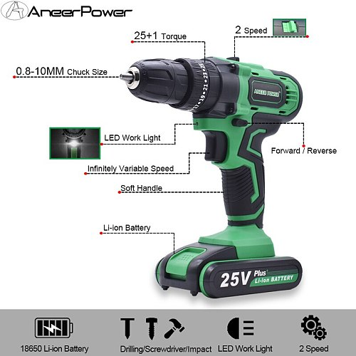 New 21V 25V Charging Drill Electric Screwdriver Electric Drill 3 Modes Power Tools Impact Drill For Drilling Screw Installation