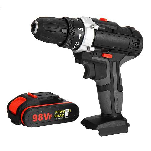 98VF Impact Drill Electric Hand Drill Battery Cordless Electric Hammer Drill Electric Screwdriver Household Electric Tools