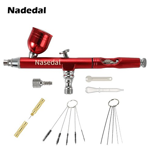 Airbrush Tool Dual Action Gravity Feed 0.3mm Nozzle Spray Gun Cake Decorating Brushes For Nail Manicure With Wrench Straw