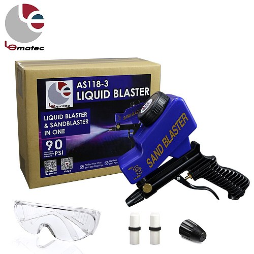 LEMATEC Sandblaster Gun With Safety Glasses and Ceramic Nozzles Soda Blaster Tools Genuine Taiwan Brand Cleaning Gun