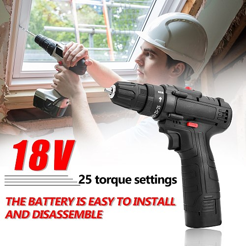 18V Multifunctional Electric Impact Cordless Drill High-power Lithium Battery Wireless Rechargeable Hand Drills DIY Power Tools