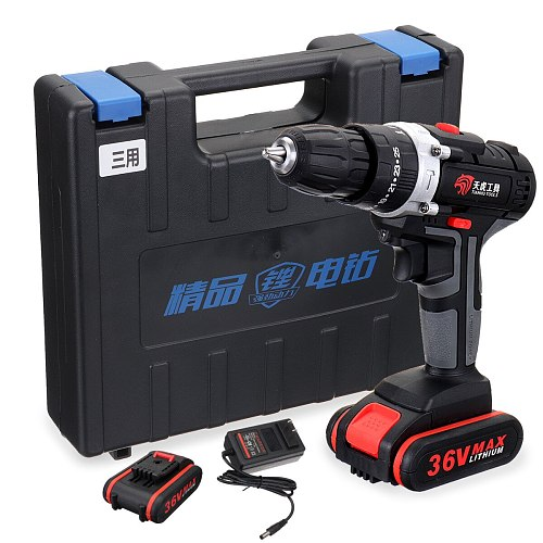 Cordless Electric Drill 36V Rechargeable Battery Power Tools 25-speed With 2Pcs Battery Screwdriver DC Lithium-Ion Battery