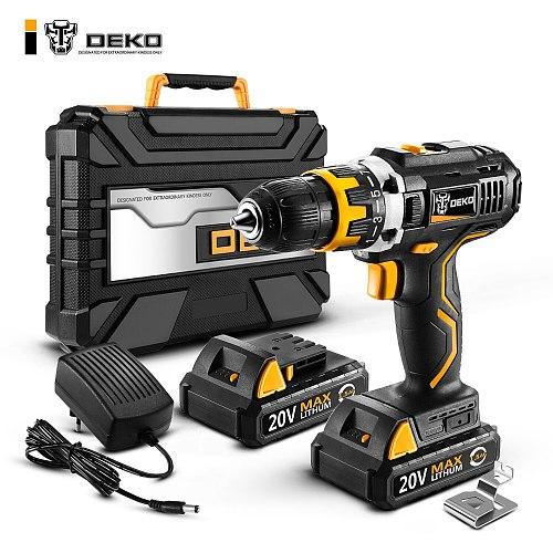 DEKO GCD20DU2Y 20V Max Electric Screwdriver Cordless Drill Mini Wireless Power Driver DC Lithium Battery 2 Speed for Home DIY