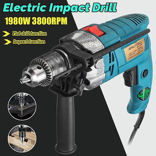 Electric Brush 13MM Electric Handheld Impact Flat Drill Guns Torque Driver Tool 1980W