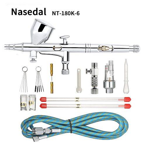 Nasedal 9cc Dual-action Airbrush Gun Paint Spray Gun Nail Air Brush Makeup 0.2mm/0.3mm/0.5mm Nozzle Needle Cleaning Tool Hose