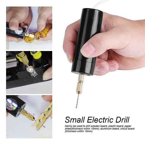 KALAIDUN 5V Electric Hand Drill Hand Motor Hole Durable Mini Electric Drill USB Portable With 3PCS Bits Diy Craft Tools