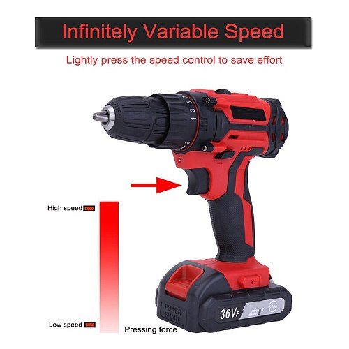 12V 18V 36V Cordless Impact Drill Electric Screwdriver Mini Wireless Power Driver Lithium-Ion Battery Electric Drill Power Tool