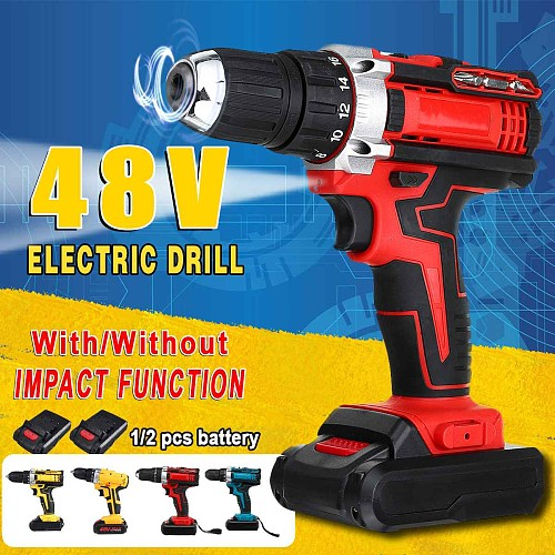 3 In 1 25 Torque 3 Speed Cordless Electric Impact Drill Screwdriver 48V Rechargeable 13000mah With 2 Li-ion Battery 110-240V