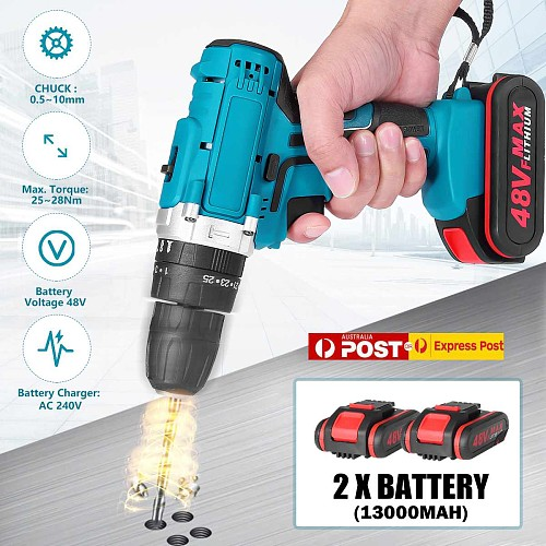 48V Home Electric Screwdriver Cordless Drill Lithium Battery Double Speed Wireless Rechargeable Hand Electric Drills 13000mah