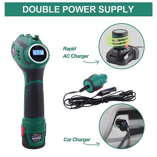 12V Car Tyre Inflator with Digital Pressure Gauge Cordless Handheld Air Compressor Pump Double Power Supply Max 130PSI