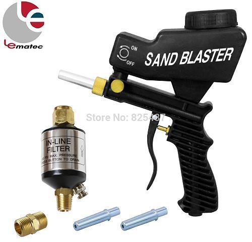 LEMATEC Sandblasting Gun Kits With 1/4  Air Filter Oil Water Separator Air Sandblast Spray Gun for Car Rust Remove Sandblaster