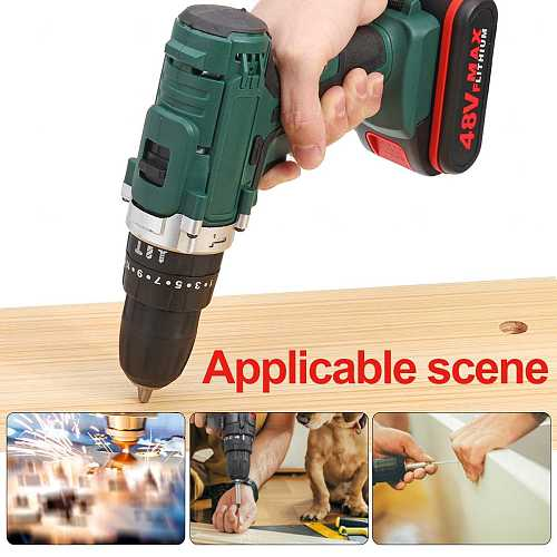 48V 6500mah Household Electric Drill Wrench Driver Double Speed Cordless Drill Rechargeable Lithium Battery Screwdriver