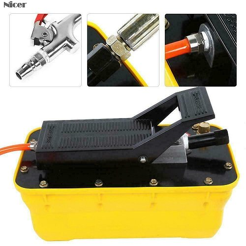 Pneumatic Hydraulic Pump 2.3L Air Hydraulic Foot Pump 3/8 NPT Single Acting with Hose Coupler Hydraulic Crimping Pliers