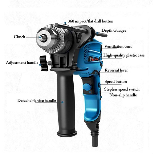 580W impact drill household electric drill small electric hammer 220v multifunctional pistol drill electric screwdriver tool set