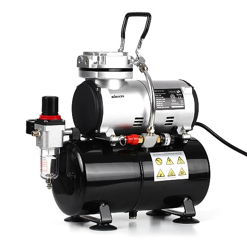 Professional 1/6 HP Piston Airbrush Compressor Oil-less Quiet High-pressure Pump Manicure Spraying Air Compressor with Tank