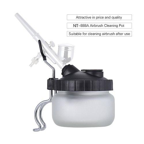 Nasedal Airbrush Cleaning Pot Spray Gun Cleaner Glass Air Brush Holder Clean Paint Jar Bottle Spray Gun Clean Tools Set